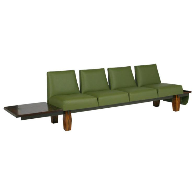 L'Atelier rosewood and leather sofa
