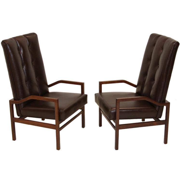 Danish leather and teak armchairs (2)