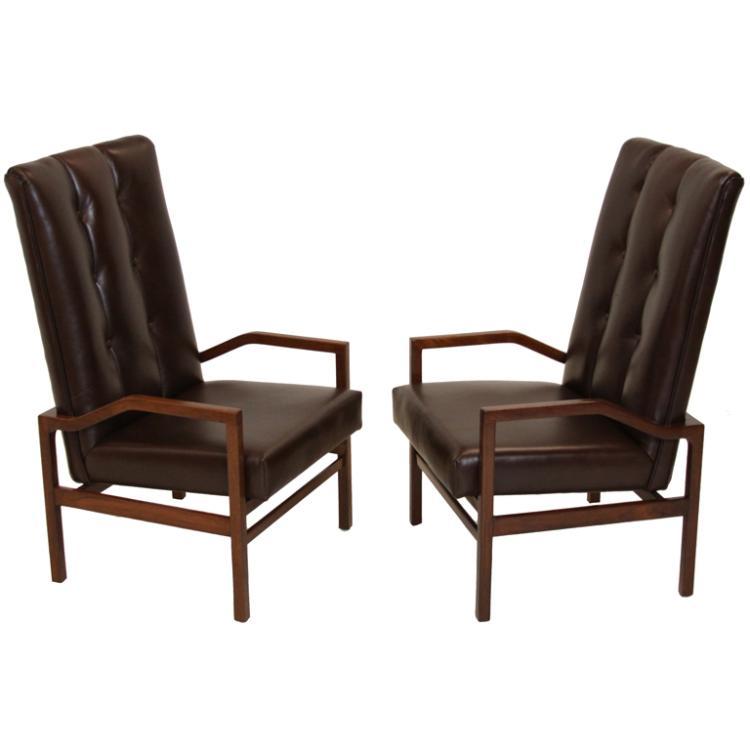 Danish leather and teak armchairs (2)