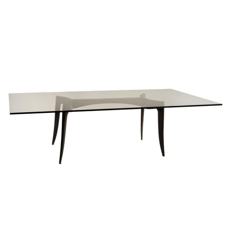 Modernist wood and glass dining table