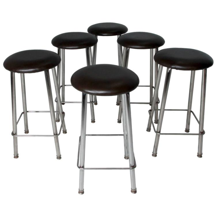 Leather and chrome button stools (7)
