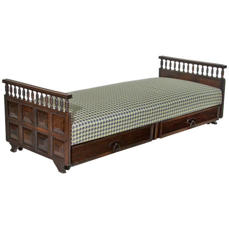Carved rosewood daybed