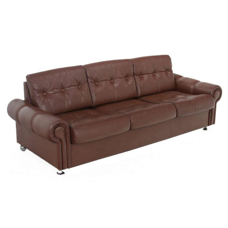 Swedish distressed leather sofa
