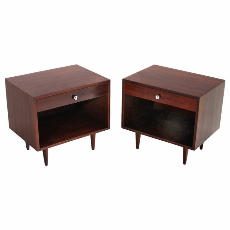 Harvey Probber walnut nightstands (2)