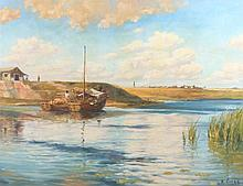 H Cheng, Boats in a rover by a village, signed oil on canvas, 85cm x 65cm -