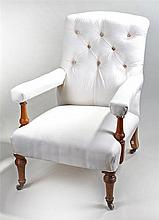 Holland & Sons Victorian cherry wood armchair, the stuff over button back a