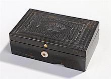 Victorian pressed horn music box, the lid finely decorated, the centre bein
