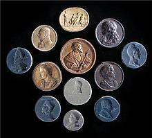 Twelve plaster medallions of various dates depicting famous men. largest 7c