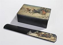 Russian papier-mâché Troika cigar box, together with the conforming page tu