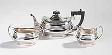 George V silver three piece tea service, Chester 1935, maker S. Blanckensee