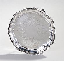 Victorian silver card tray, London 1867, maker Henry Holland, the dish top