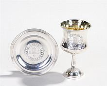 Victorian silver traveling chalice and paten, London 1838, maker George Pin