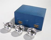Danish silver three salts with two British hallmarked salt spoons - Stock R