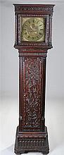 George III oak longcase clock, H Lough, Penirth, the blind fret cornice abo