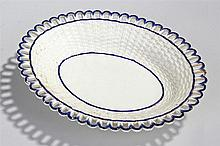 Circa 1810 Pearlware dish in the form of a basket, with basket weave sides,