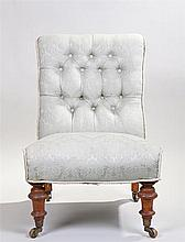 Victorian nursing chair, the stuff over back and seat raised on turned legs