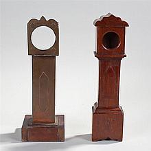 Two scratch built miniature longcase clock watch holders, the first in oak