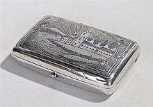 Early 20th Century Silver niello cigarette case, Middle Eastern, the front