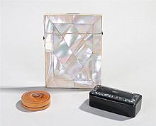 Victorian mother of pearl card case, with diamond shaped panels, 11cm high,