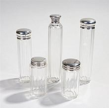 Silver and glass containers, various dates and makers, the tall containers