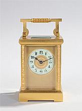 Victorian gilt brass carriage clock, the five glass case with trailing bees