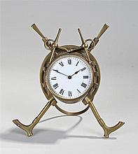 Novelty desk timepiece, with riding crops and horse shoe case, white enamel
