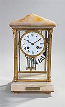 Late 19th Century French four glass and marble mantel clock, the arched top