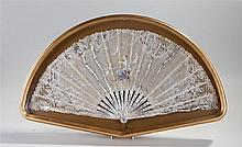 19th Century silk and mother of pearl hand painted cased fan, the fan sprea