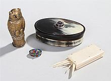 Works of art, to include a Scottish horn snuff box, an Egyptian revival ena
