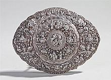 Fine late 19th Century Straits silver buckle, decorated with a dragon to th