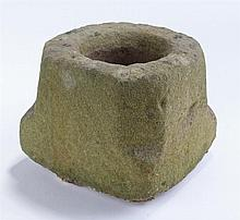 17th Century stone mortar, the square body with canted corners, 17cm wide,