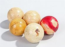 Victorian ivory billiard or snooker balls, four natural and one in red, (5)
