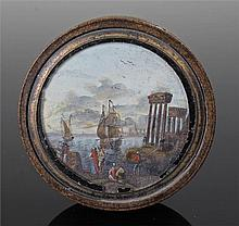 Table snuff box of circular form with the lid holding an oil seascape with