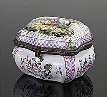 Late 18th Century German enamel table snuff box, of bombe form, the hinged
