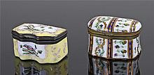 Late 18th Century Bilston enamel snuff box, the hinged lid decorated with t