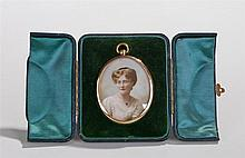 Edwardian miniature portrait, overpainted photograph image of a lady, house