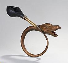 20th Century car horn, as a dragons head looping to the bellows, 40cm long