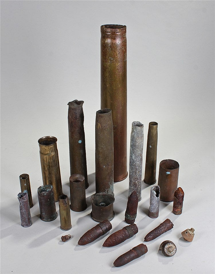 Collection of shell casings, from 17cm to 8cm in height, (qty)