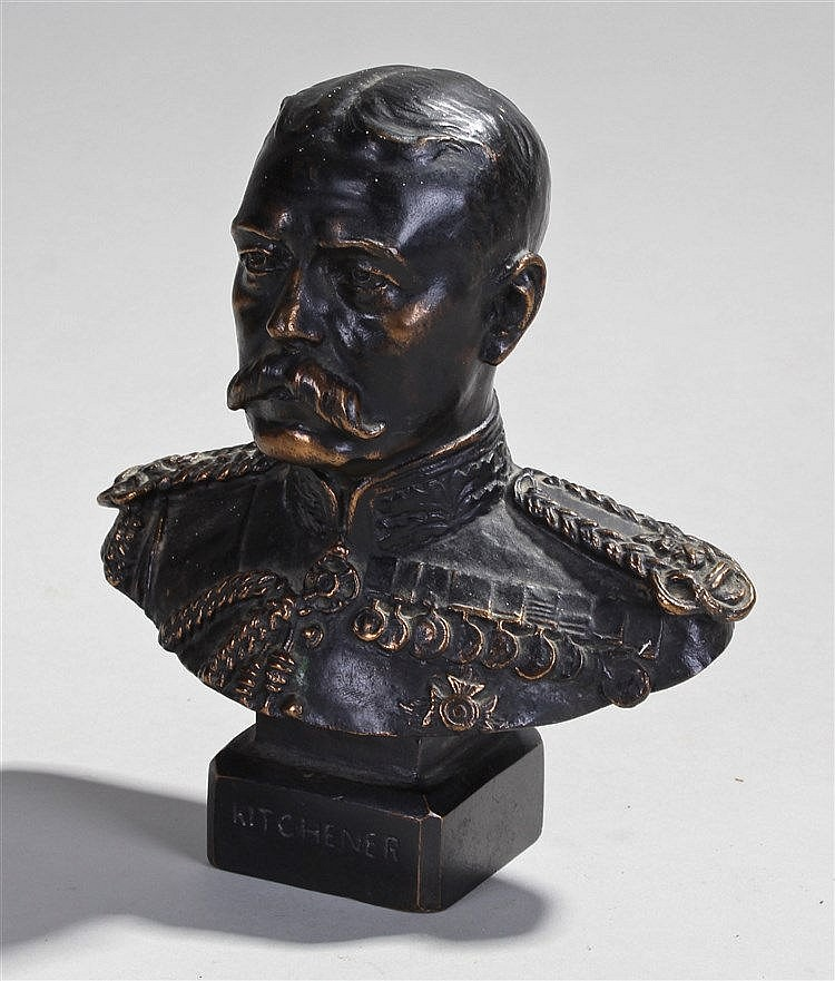 Bronze bust of Field Marshal Kitchener, by H Binney, 1916, 18cm high