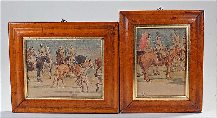 Two circa 1895 military watercolours, signed Davis, 1895, depicting cavalry