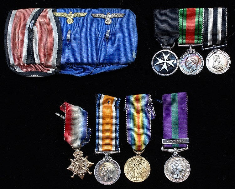 Miniature medals, to include First World War Trio, German ribbons with Eagl