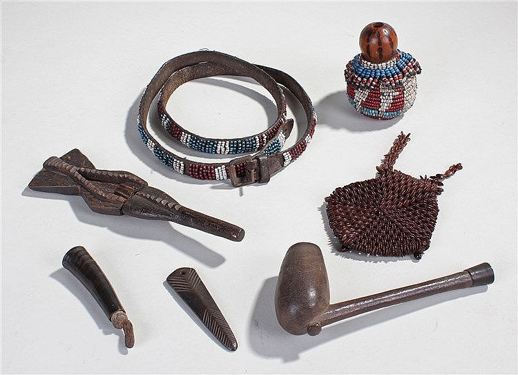 Collection of Southern African tribal items, to include a purse, a bead wor