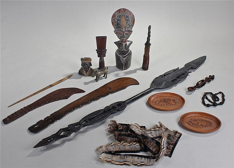 Tribal objects, to include an African bronze leopard, and Ashanti figure, a