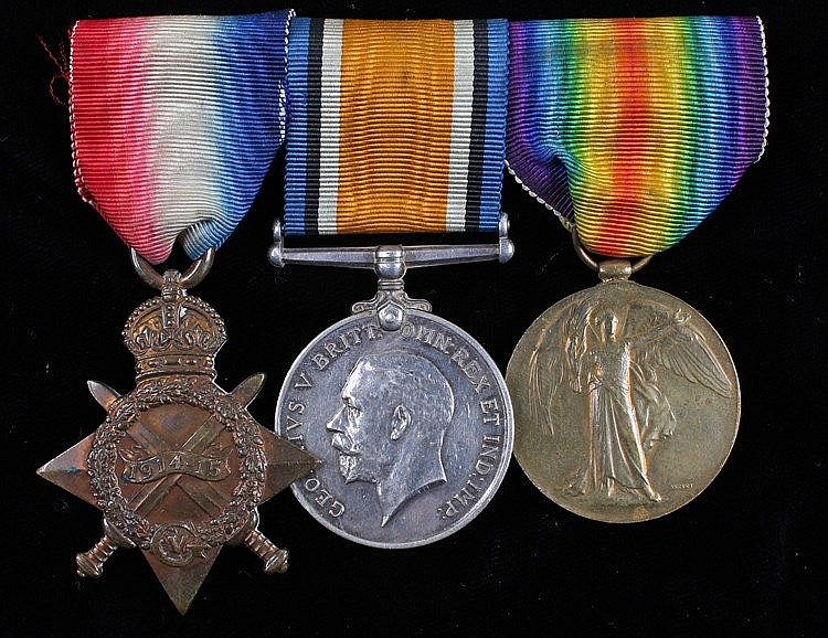 First World War trio, consisting of 1914-15 Star, War medal and Victory med