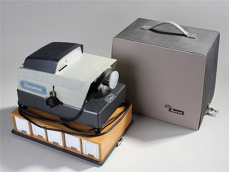 Paximat electric 35mm slide projector, with original box