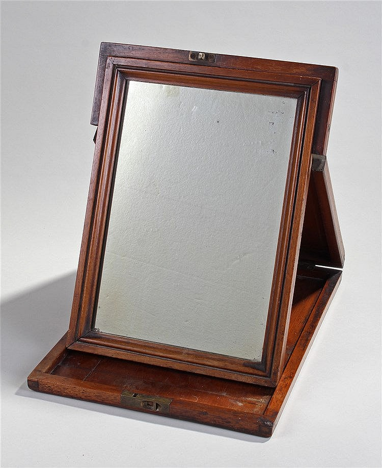 19th Century campaign mirror, the hinged case with enclosing mirror hinged