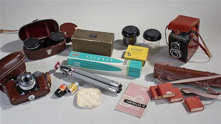 Cameras and camera equipment, to include Contraflex IV single lens Reflex,