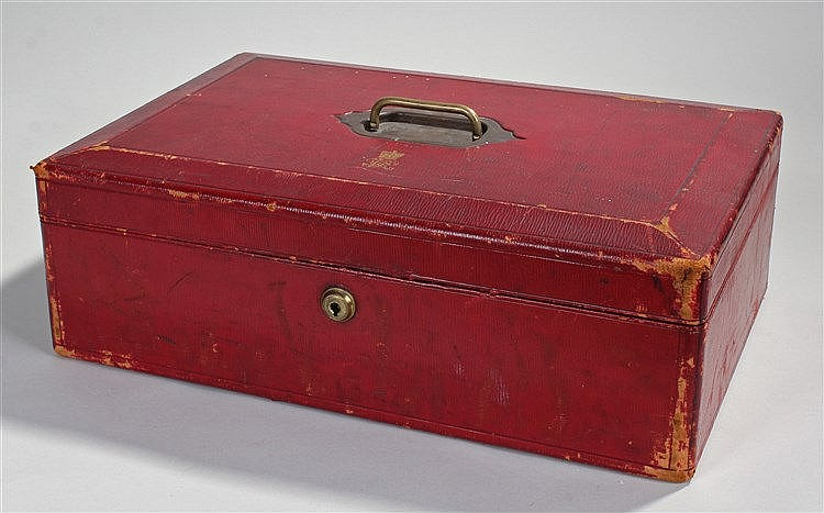 The Right Honourable John Satterfield Sandars Dispatch box, the red leather