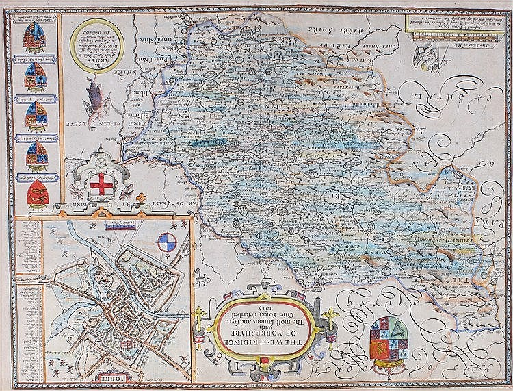 John Speede,  1610, West Riding of Yorkshire, hand coloured map with plan o
