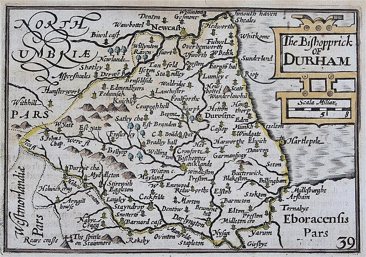 Pieter Van Der Keere (1570-1630) The Bishopric of Durham, 12cm x 9cm